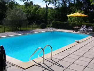 Part of the pool area. Six loungers are provided the pool is solar heated and has poolside lighting