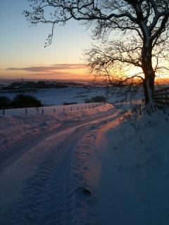 Tak Ma Doon Road from Brockieside in Winter.