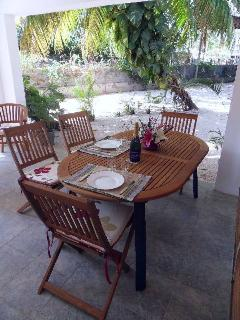 You may have your meals under the veranda.