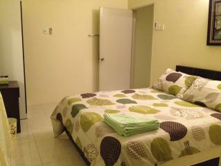 2nd bedroom with aircond, ceiling fan, attached bathroom, double bed, hot shower, laundry basket