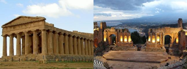 Concordia temple in Agrigento. greek theatre in Taormina