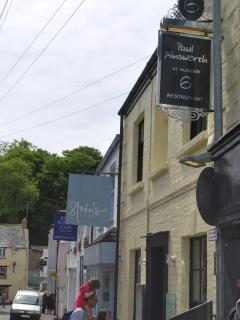 A Padstow street showing Rick Stein's and Paul Ainsworth's restaurants