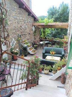offre une vue sur la terrasse fleurie du propriétaire.