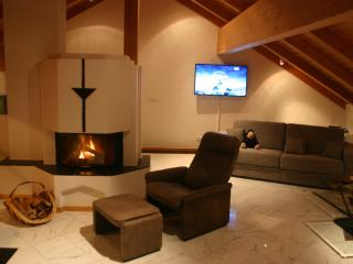 Living room with fireplace - cozy evenings during winter time