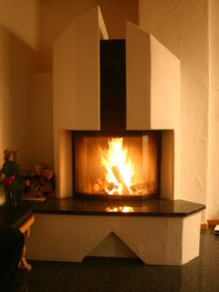 A second fireplace is located in the kitchen/dining room.