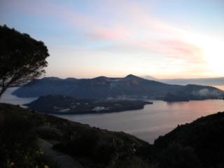 panorama  visibile da casa al tramonto