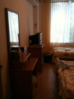 The bedroom has a chest of drawers for storage. It also has a TV & DVD player.