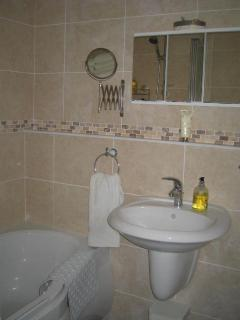Recently renovated bathroom with excellent shower pressure