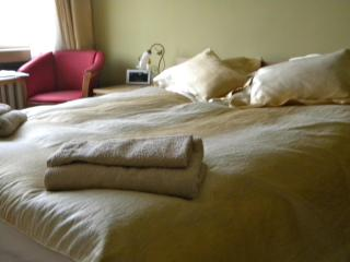 Comfy 160 x 200cm. bed, towels and linens included.