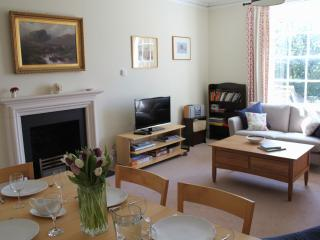 The large sitting/dining room
