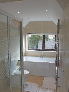 Ramey 2nd Floor Family bathroom with shower and separate bath