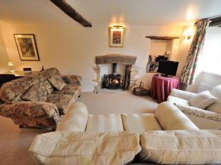 Cosy, stylish living room with log burner