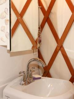 Bathroom sink, mirror cabinet