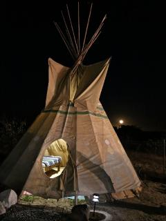Tee Pee with two full beds and electricity.  $35