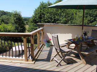 The decking affords lovely views of the surrounding countryside