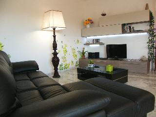 Large living room (28 square meters) with flat tv, dvd player and stereo