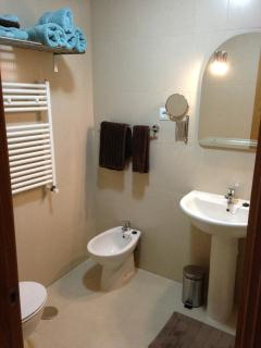 Family bathroom. Bath and shower, wc, basin and bidets.