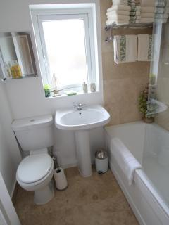An taigh beag - the main bathroom with electric shower over the bath