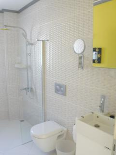 Modern wet room with lush yellow walls