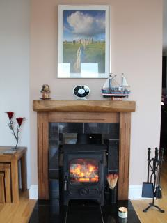The Snug complete with Charnwood Country 4 multi fuel stove.  You can use peat, coal and logs.