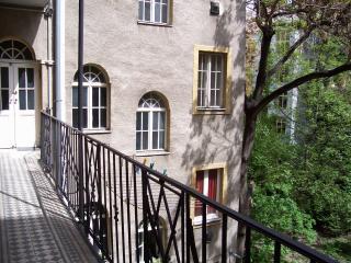 corridor facing a garden