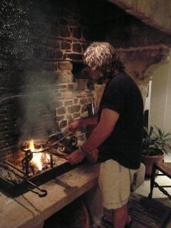 Cooking at the fireplace...
