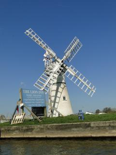 Sailing past the windmill at Thurne.