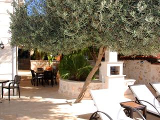 BBQ and shaded dining area