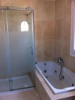 Jacuzzi and shower in master bedroom en-suite bathroom