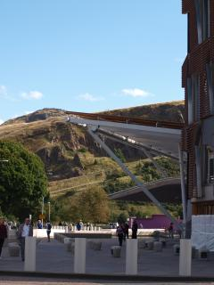 Scottish Parliament and Arthur's Seat (photo taken literally a 30 second walk from the apartmen