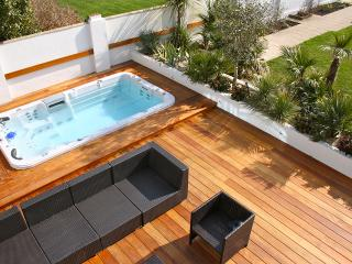 Outside deck and swim spa. View from upstairs balcony