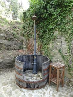 A outdoor shower with hot water