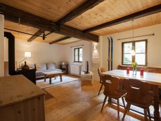 Lower apartment living room with wood burning stove - ideal for those winter evenings