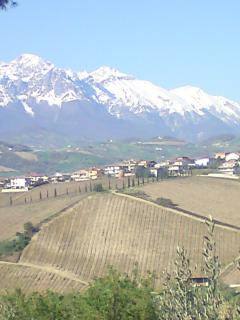 View from the villa of Gran Sasso mountains