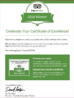 Our winning award certificate of excellence for 2014