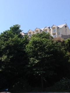 View of the apartment block from below