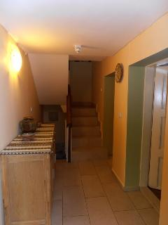 Ground floor hallway, kitchen/lounge, small lounge & shower-room off, & leading to internal