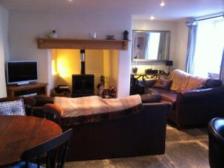 Living room with two leather sofas, wood-burner, wi-fi and tv and dvd, radio with iphone dock
