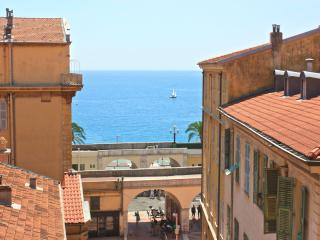 View from the living area, the Cours Saleya leading out onto the Promenade to the many beaches