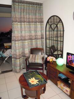 Séjour donnant sur terrasse, TV écran plat, lecteur DVD et CD
