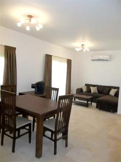 Open plan living, dining area