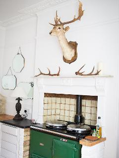 Adam sits above the Aga in the dining room