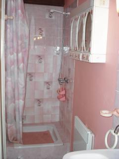 la salle de bains avec sa douche du studio 35m2