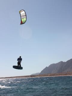 The kitesurfing lagoon and main sandy beach is a 10 minute walk from the apartment.