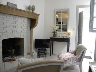 Salon, cheminée, TV pour se reposer après visites et randonnées