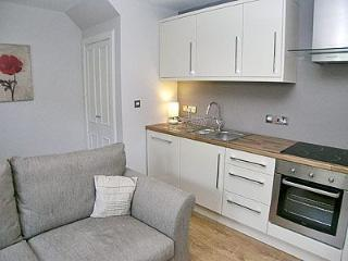 Contemporary kitchen. Glass hob. Microwave. Fridge freezer. Dishwasher.