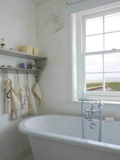 bathroom with sea view and large ground floor wet room (not pictured) perfect for post beach shower