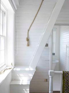 bright, light spaces - tongue and grooved painted white walls.