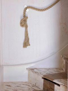shabby chic paint and wood work ! with nautical features.