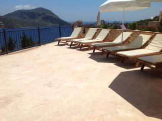 Plenty of sunbathing space on Villa Sarafin's private poolside